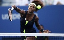 Williams of the U.S. smashes a return to Azarenka of Belarus during their women's singles finals match at the U.S. Open tennis tournament in New York
