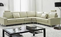 canapé d'angle en cuir beige
